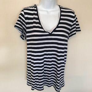J.Crew vintage cotton v-neck striped tee, size L